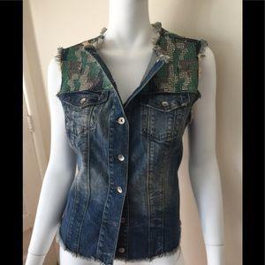 Gaudi Jeans distressed shirt/vest w/embellishment